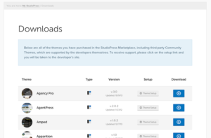 StudioPress downloads page