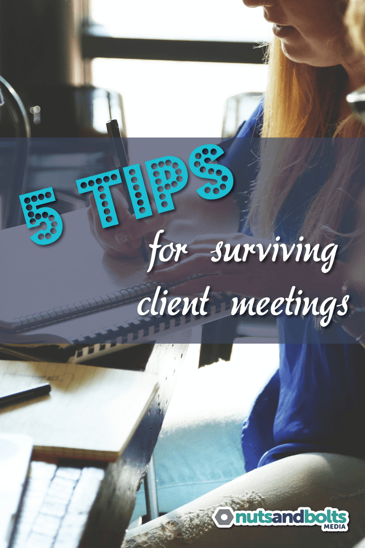 5 Tips for Surviving Face to Face Client Meetings - Meeting with potential clients face to face can be stressful! This article provides 5 tips for surviving client meetings with your sanity intact. via @awhitmer83